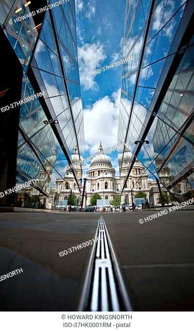 St. Paul's Cathedral reflected in glass