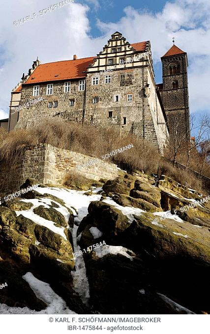Castle and St. Servatii abbey church, castle hill, Quedlinburg, Harz, Saxony-Anhalt, Germany, Europe