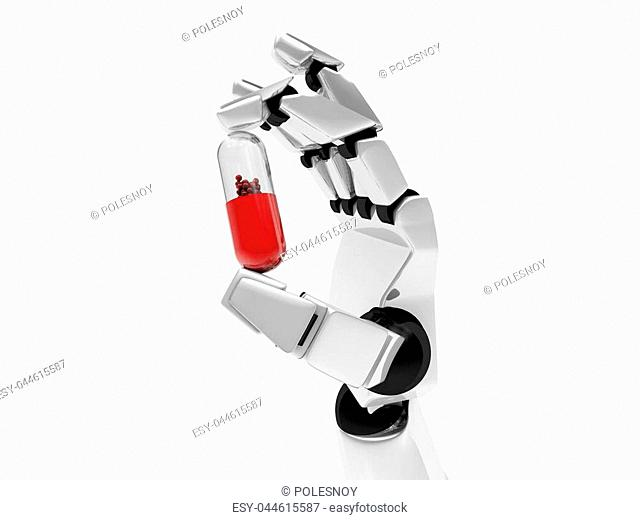 Concept of a robotic mechanical arm with drug. 3D rendering