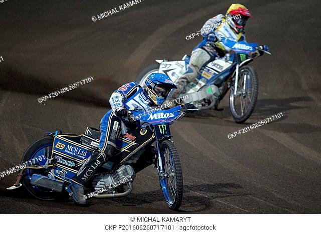 Grand Prix of the Czech Republic, speedway World Cup race in Prague, Czech Republic, June 25, 2016. From left: Winner Jason Doyle of Australia and Chris Harris...