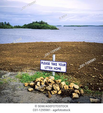 Take your litter home sign at picnic place by Lough Corrib lake, Connemara, county Galway, Ireland