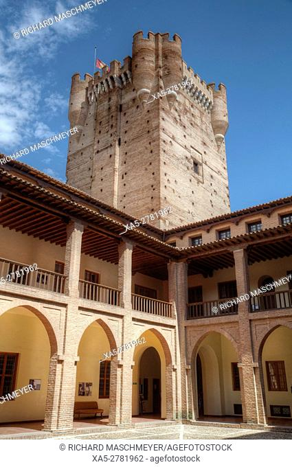 View from Inner Courtyard, Castle of La Mota, built 12th Century, Medina del Campo, Valladolid, Spain