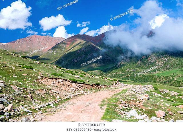 Road turn in Tien Shan mountains. Kyrgyzstan