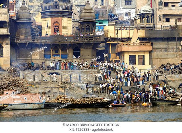 The rite of cremations at Manikarnika Ghat, the primary ghat in Varanasi Uttar Pradesh, India  It is most known for being a place of Hindu cremation and it is...