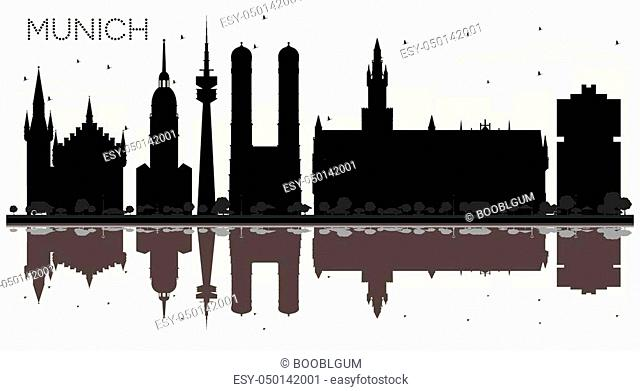 Munich Germany City skyline black and white silhouette with Reflections. Business travel concept. Munich Cityscape with landmarks