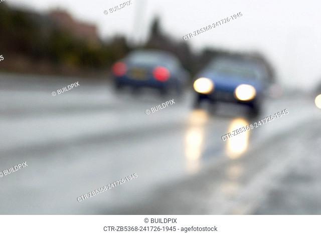 Wet weather driving conditions, Suffolk, UK