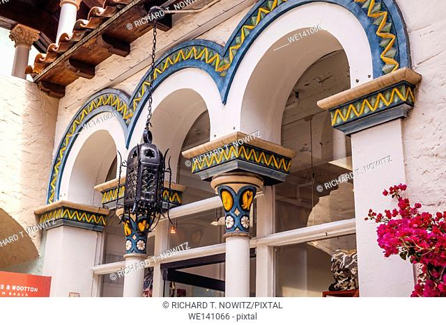 Spanish revival architecture and tiles along Worth Ave. in Palm Beach, Florida - US State