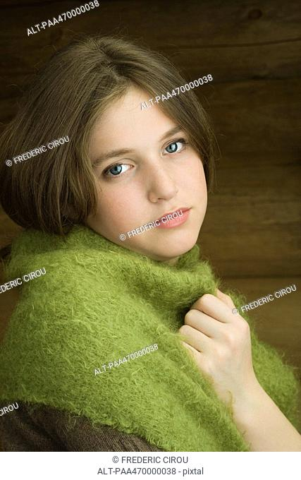 Teen girl with shawl around shoulders, portrait