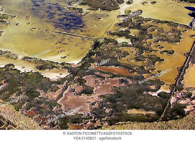 Aerial view of Albufera Natural Park, Mallorca, Balearic Island, Spain