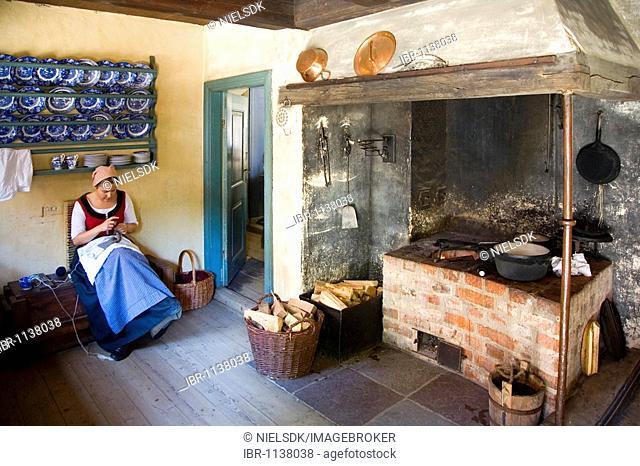 Kitchen in the Old Town open-air museum, Aarhus, Denmark