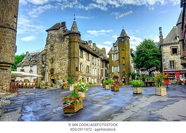 Place de l'Eglise, Salers, Cantal Department, Auvergne, France