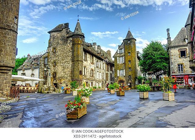 Place de l'Eglise, Salers, Cantal Department, Auvergne, France