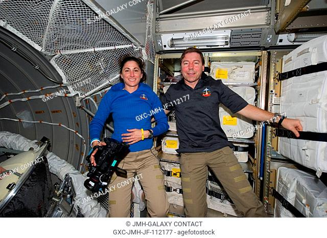 NASA astronauts Nicole Stott and Michael Barratt, both STS-133 mission specialists, are pictured in the European Space Agency's Johannes Kepler Automated...