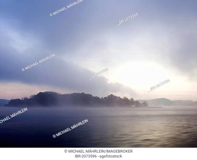 Sunrise at Woerthsee lake with fog, Bavaria, Germany, Europe