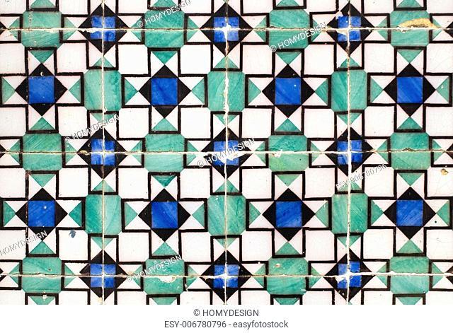 Detail of Portuguese glazed tiles