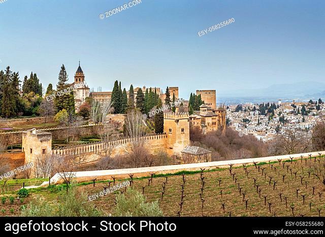 View of Alhambra from Generalife gardens, Granada, Spain