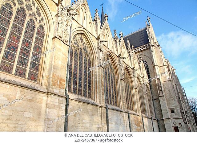 gothic Kapellekerk (church) in downtown Brussels (Belgium)