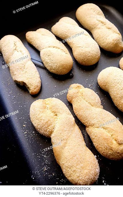 Fresh Greek Cookies, Koulourakia, on Baking Tray