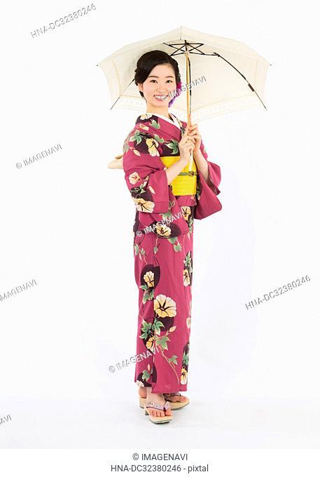 Woman in Yukata, Studio Shot