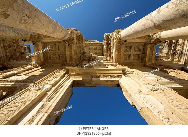 Ceiling of the facade of Library of Celsus; Ephesus, Izmir, Turkey