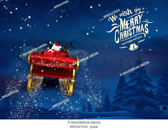 3D Santa claus riding reindeer sleigh towards the sky