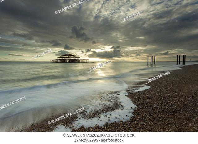 Sunset at West Pier in Brighton, East Sussex, England