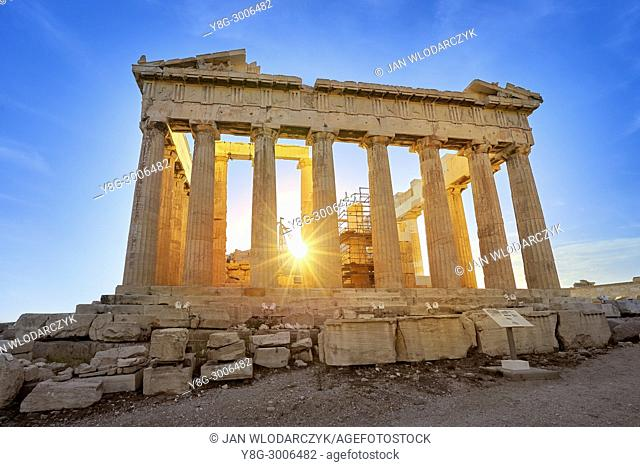 Parthenon at sunset time, Acropolis, Athens, Greece