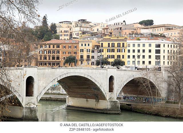 Tiber river in Rome on February 6, 2017