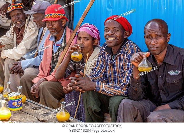 Dorze People Drinking Tej (Honey Wine) At The Thursday Market In The Dorze Village Of Hayto, near Arba Minch, Ethiopia