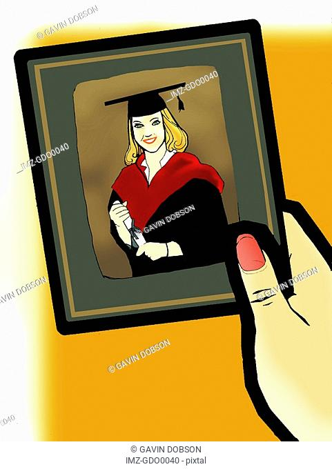 A graduation photo of a blonde girl