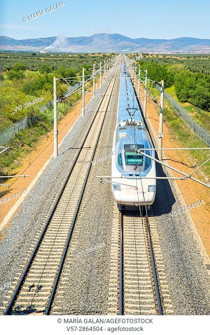 AVE high-speed train traveling along La Mancha. Malagon, Ciudad Real province, Castilla La Mancha, Spain