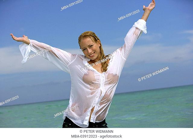 woman, young, blond, lake, clothing, blouse, wet, gesture