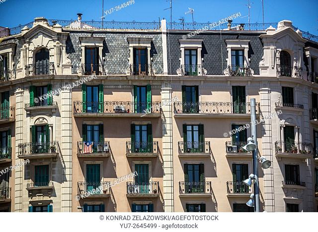 Apartment house at Avenue of the Parallel in Barcelona, Spain