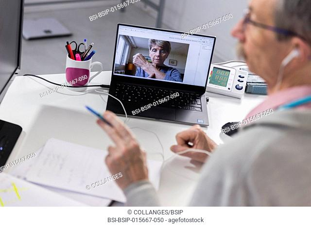 Medical teleconsultation with senior female patient