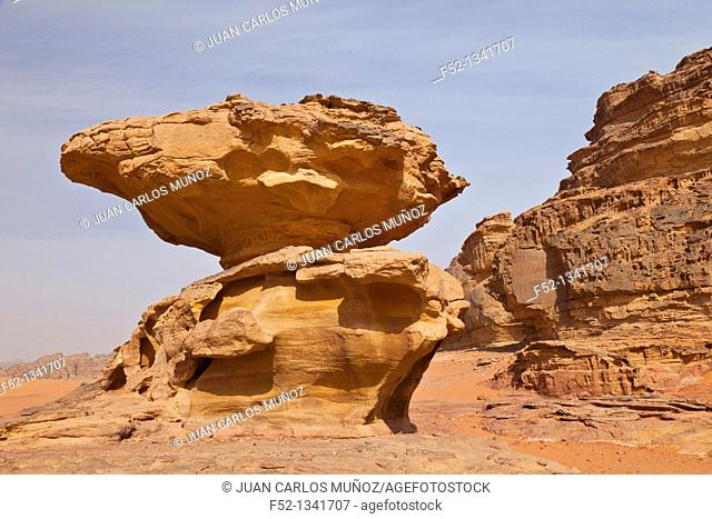 Eroded rock in balance, Wadi Rum, Jordan, Middle East