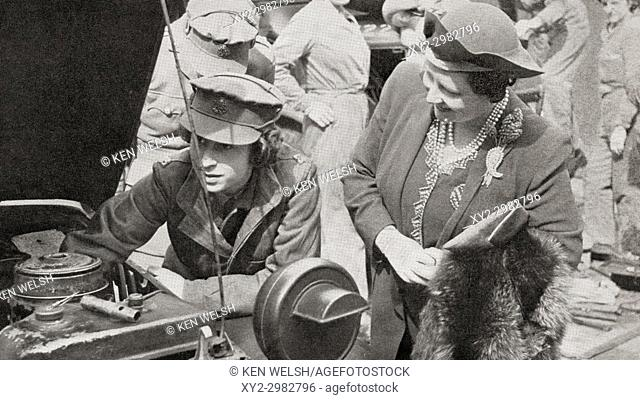 Princess Elizabeth in the A. T. S. , seen here with her mother Queen Elizabeth in 1945. Princess Elizabeth of York, future Elizabeth II, born 1926