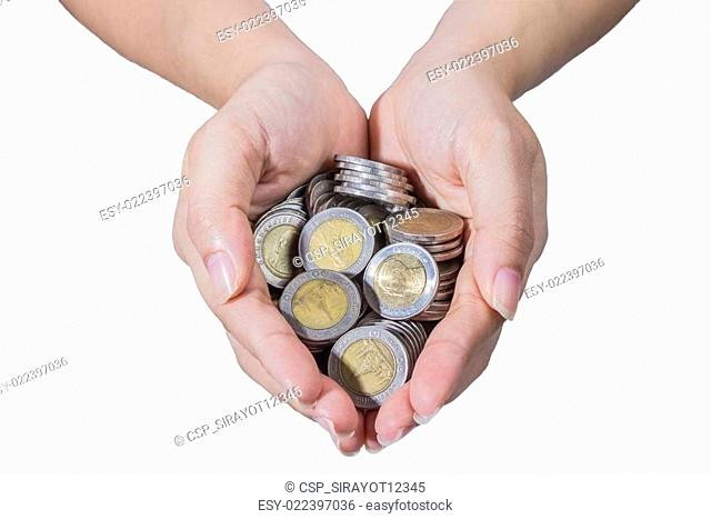 Hands with thai coins isolated on white background