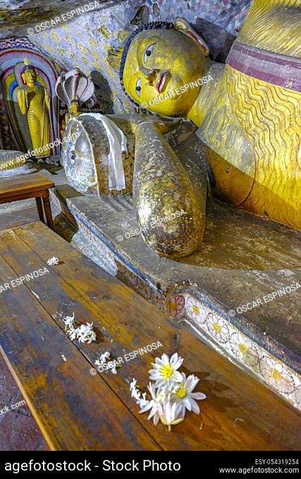 Dambulla, Sri Lanka - February 2020: Buddha statue inside Dambulla cave temple on February 8, 2020 in Dambulla, Sri Lanka. Cave V Devana Alut Viharaya