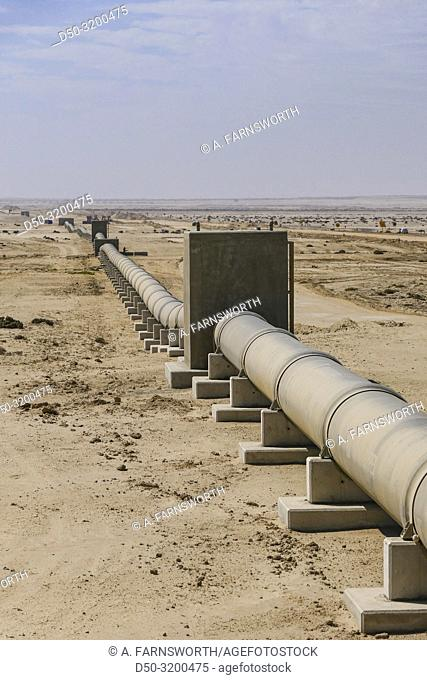 Swakopmund, Namibia. A water pipeline in the desert