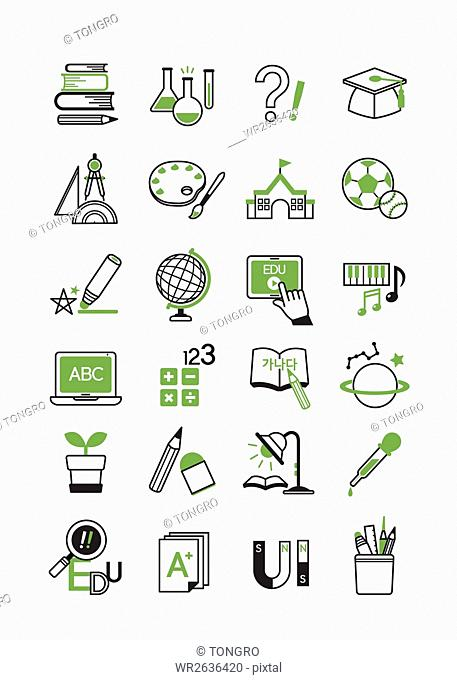 Various line icons related to school education