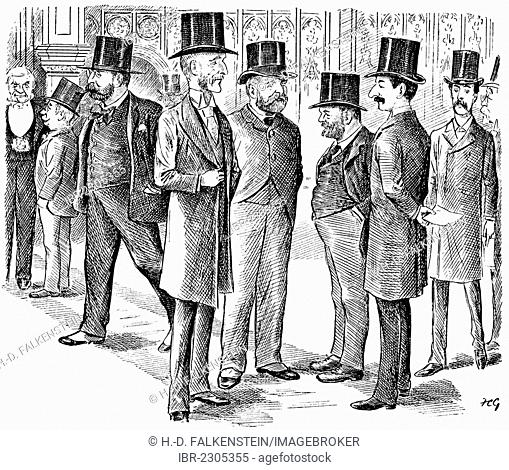 Historical drawing from England, 19th century, caricature of lobbyists, drawn by Francis Carruthers Gould, 1844 - 1925, a British political caricaturist