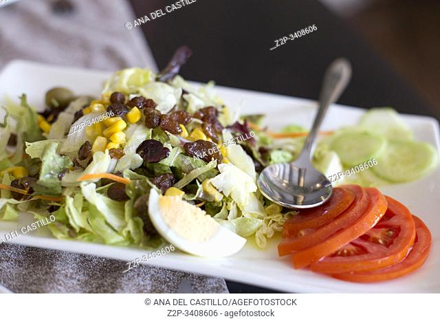 Salad with tomato lettuce egg and raisins Spain