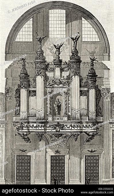 Project of a monumental organ from the 19th century for the Basilica of Saint Peter, in the Vatican. Italy. original by the French organ builder Cavaillé-Coll