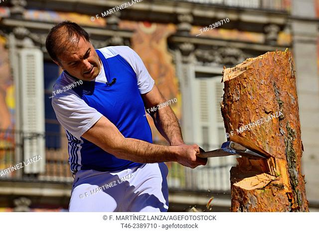 Performing the 'Fiesta de los Gabarreros' woodcutting festival typical of El Espinar (Segovia province) in the Plaza Mayor of Madrid. Spain