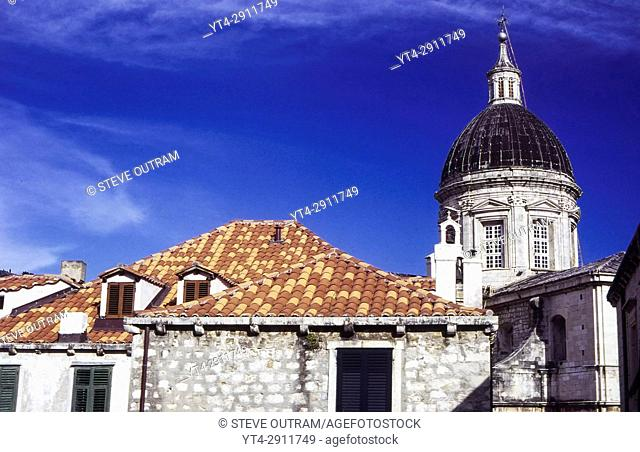 Terracotta roof tiles and the Cathedral of the Assumption of the Virgin Mary, Dubrovnik, Croatia