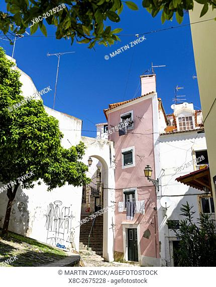 The narrow lanes of the Alfama, an old town dating back to moorish times. Lisbon (Lisboa) the capital of Portugal. Europe, Southern Europe, Portugal, March