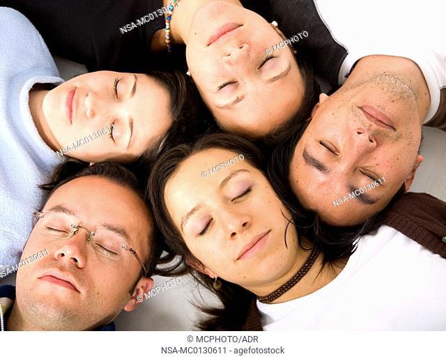 Casual group of people sleeping