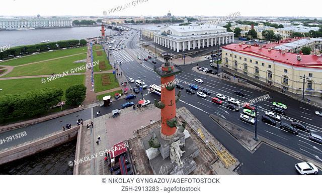 Arrow of Vasilyevsky Island from a bird's-eye view. Saint Petersburg. Russia