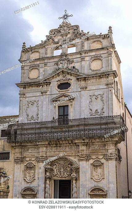 Saint Lucy Church (Chiesa di Santa Lucia alla Badia) at Cathedral Square (Piazza del Duomo) on Ortygia island, Syracuse city, Sicily Island, Italy