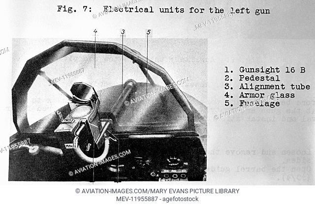 Luftwaffe Messerschmitt Me-163 Komet Electrical Units for the Left Gun Technical-Drawing Diagram